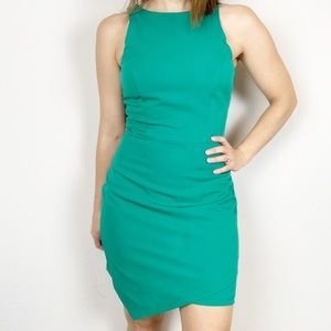 Annabelle fitted green high neck dress asymmetric